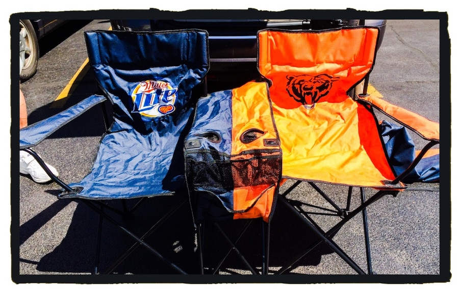Chicago Bears NFL Miller Lite Double Folding Chair Game Day Tailgate  Football Chairs Set