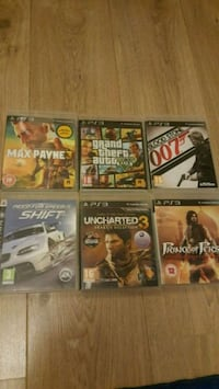 six assorted PS3 game cases Reading