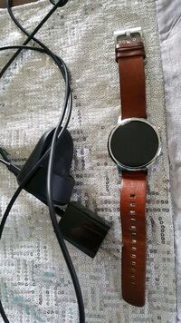 round silver-colored smartwatch with brown leather strap Surrey, V3R 6X9