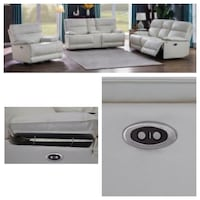 100% white leather power reclining sofa