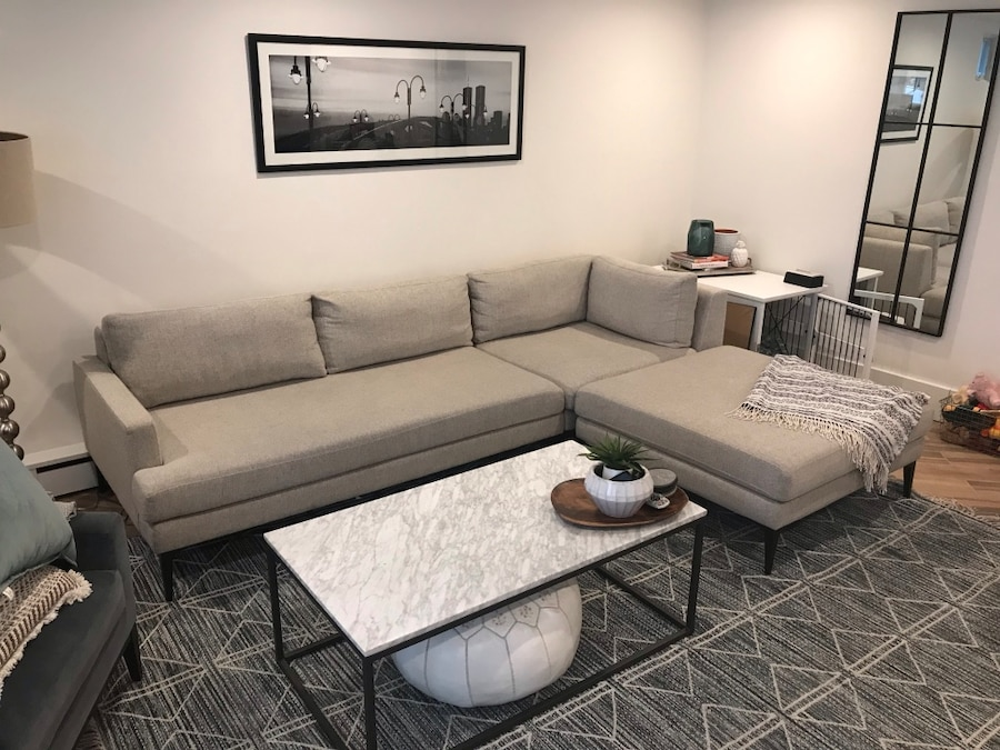 used west elm andes collection 3 piece chaise sectional for rh gb letgo com