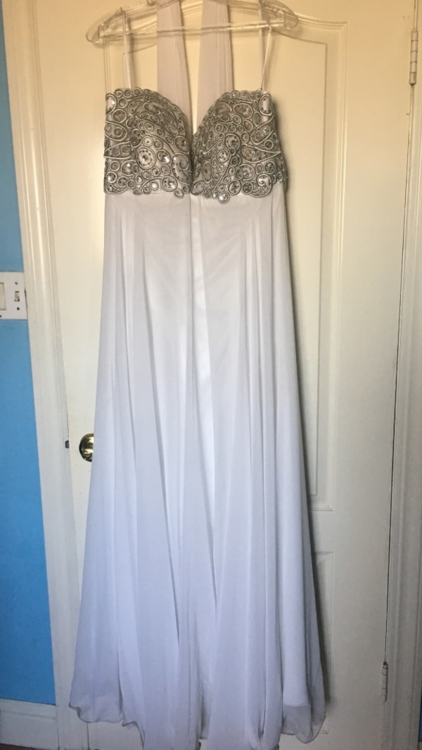 white and gray embellished sweetheart neckline dress
