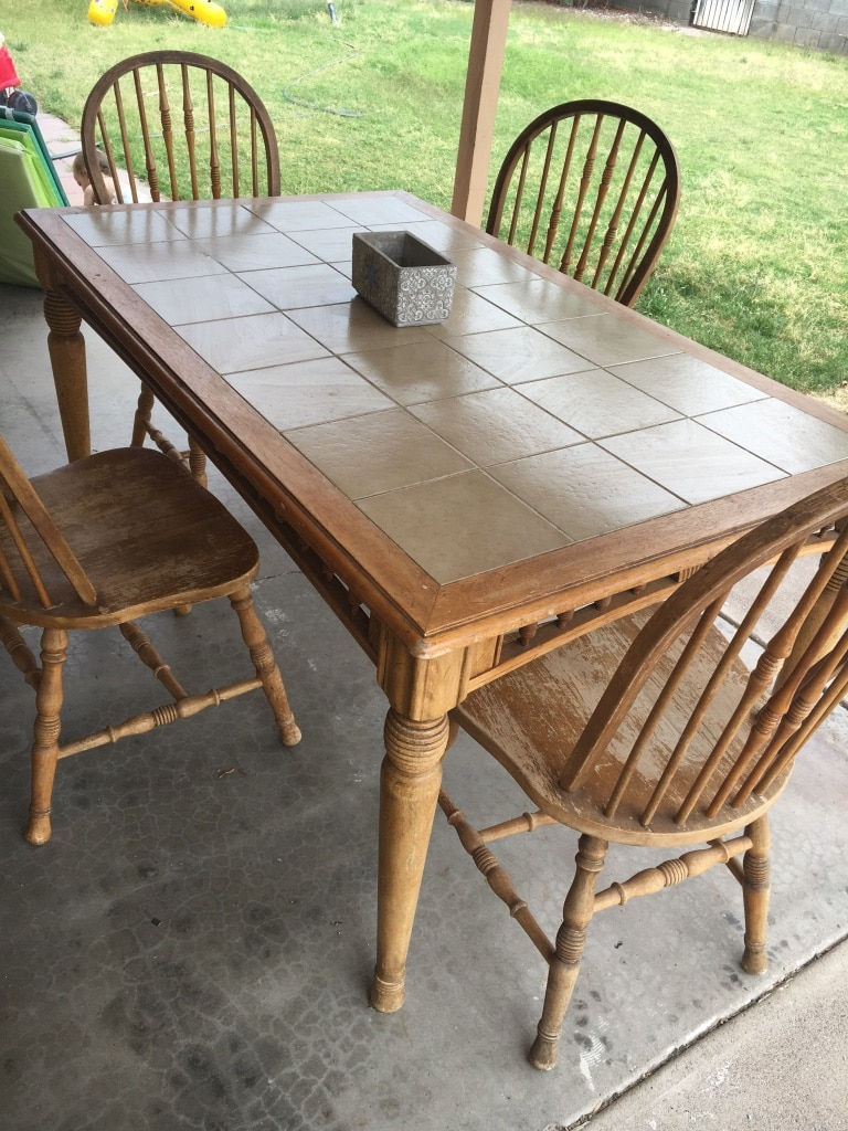 dining room wooden tile patio table with 4 chairs usag vendre rh tr letgo com