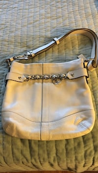 White leather hobo bag