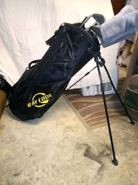 Ray Cook golf bag with clubs