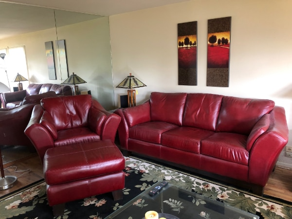 used 4 piece living room furniture set red leather couch chair rh tr letgo com