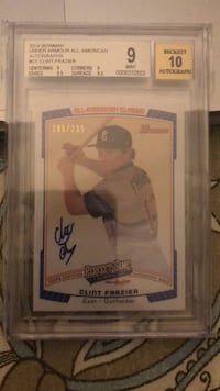 2014 Bowman under armor all american  Auto Clint frazier  #/235   BGS 9/10 Chicago, 60660