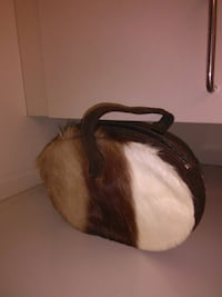 Vintage pony hair purse with leather strap.  Vancouver, V6A 1G6