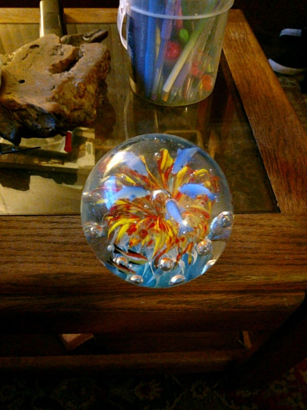yellow and orange clear water globe