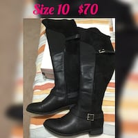 Size 10 pair of black leather knee-high boots