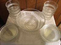 round clear cut glass bowls and cups Islip, 11722