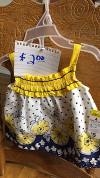 toddler's white and yellow floral sleeveless dress Athens, 35611