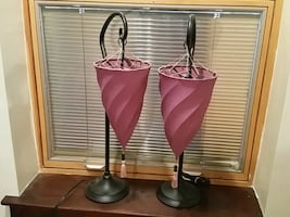 two purple and steel table lamps