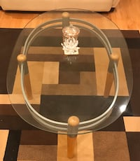 Glass and wood coffee table and 2 side tables