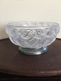 Frosted glass raised rose bowl silverplate base WA Italy Murrieta, 92563