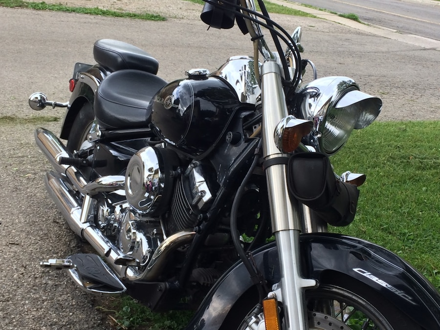 black and gray cruiser motorcycle - $2,000