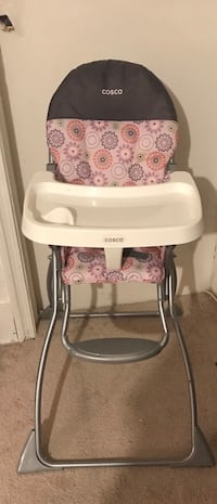 baby's white and pink floral high chair Baltimore, 21213