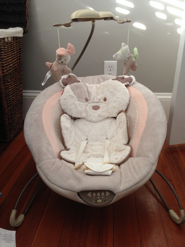 baby's gray and white cradle and swing 791d7186-8228-4366-915d-09a3f287ce41