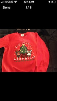Red and black crew neck long sleeve (bape) size 6