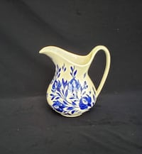 Clinchfield Artware/Pottery - Pitcher, Beige and Blue Floral, Hand Painted, Erwin, TN, Vintage 1950s Hampton
