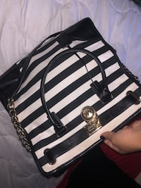 black and white stripe leather tote bag Manassas, 20110