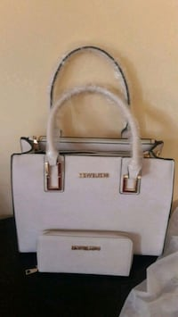 white and gray Michael Kors leather tote bag Manassas Park, 20111