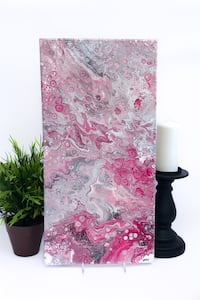 Original Abstract Art. Pinks with grey. NEW and ready to hang