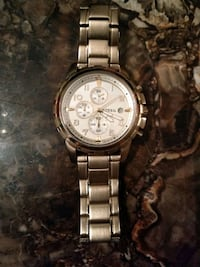 round silver chronograph watch with link bracelet Galesburg, 49053