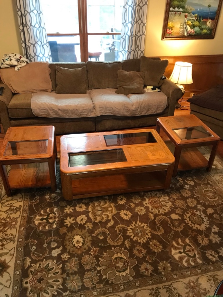 used solid wood with glass coffee table and side tables for sale in rh gb letgo com