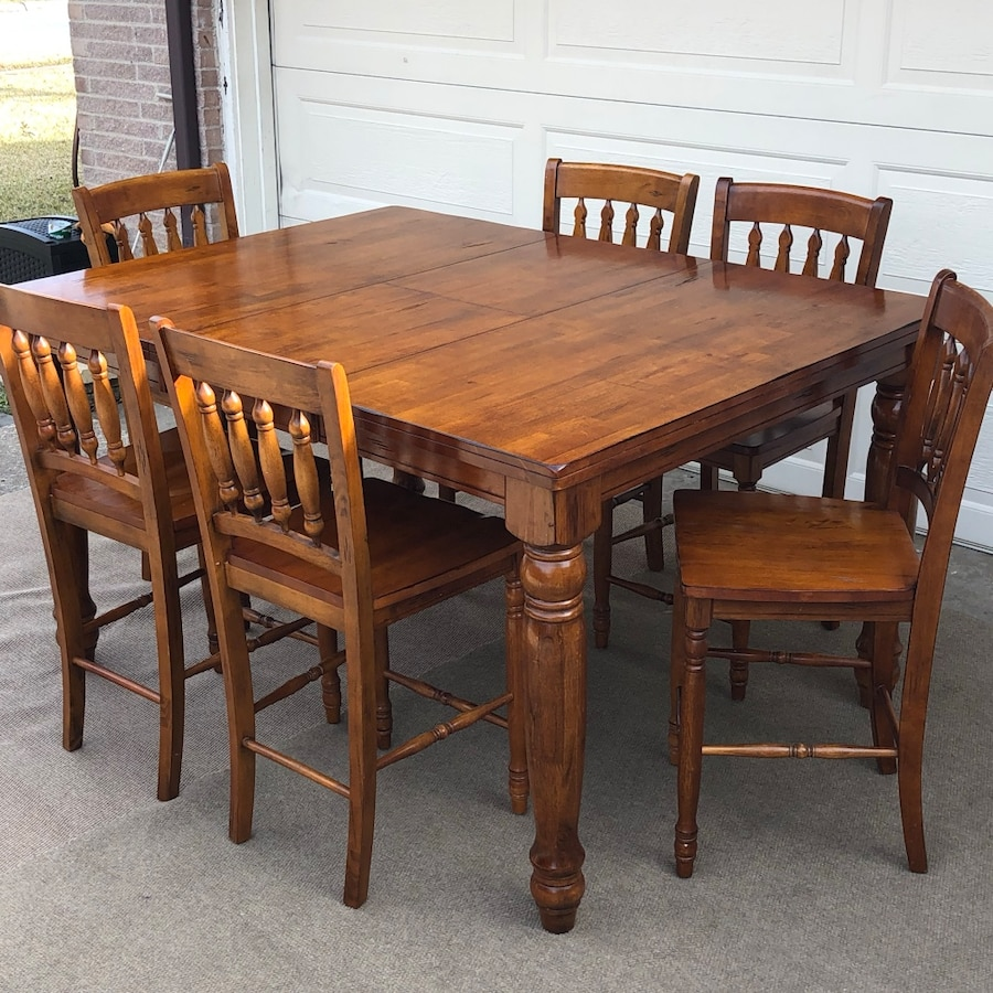 used 7 pc solid wood dining set table 6 chairs for sale in rh gb letgo com