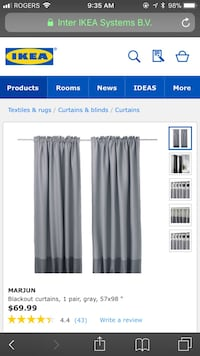 Ikea Blackout curtains with Black marble Umbra Curtain Rods x3 Toronto, M5G 0B1