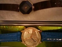 round gold-colored analog watch with black leather strap Yuba City