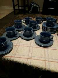 12 blue cups with saucers Toronto, M9C 2N2