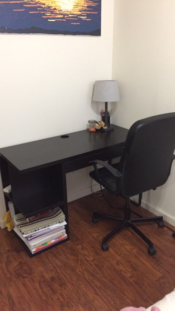 used black wooden desk with rolling chair for sale in new york letgo rh us letgo com