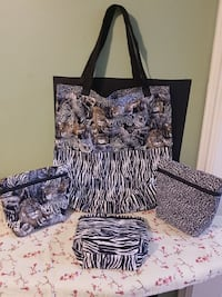 black and white floral assorted bags