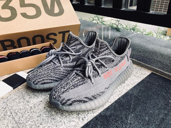 ea40d881b pair of gray Adidas Yeezy Boost 350 V2 on box. HomeFashion and Accessories New  York