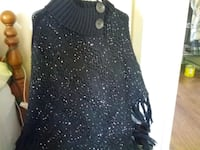 women's black knitted poncho Brampton, L6S