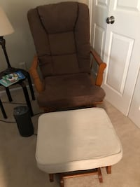 brown wooden framed gray padded glider chair Purcellville, 20132
