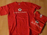 "2 ""Girls Do It Better"" Soccer T-shirts, red, Adult Med, new - $10 each"