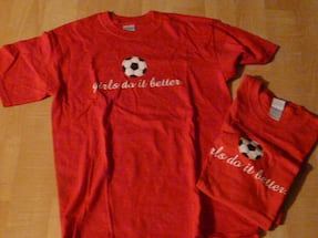 """2 """"Girls Do It Better"""" Soccer T-shirts, red, Adult Med, new - $10 each"""
