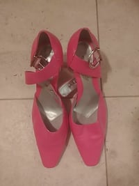 pink leather pointed-toe ankle-strap pumps