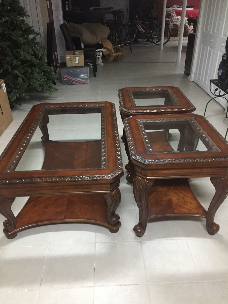 used three solid wood glass bevel top tables for sale in plainview rh gb letgo com