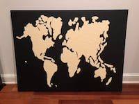 Large Abstract Map Painting in Black and Cream Washington, 20001
