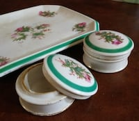 VINTAGE 3 PIECE CERAMIC FLOWERED DISH SET! Austin