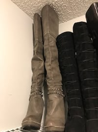 Pair of women's gray leather knee-high boots Mississauga, L5B 4G7