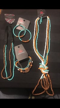 blue, white and teal beaded jewelry accessories