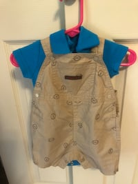 Just One You by Carter, Overall Set,Sz0-3 Mos.Tan Overalls w/footballs Baltimore, 21236