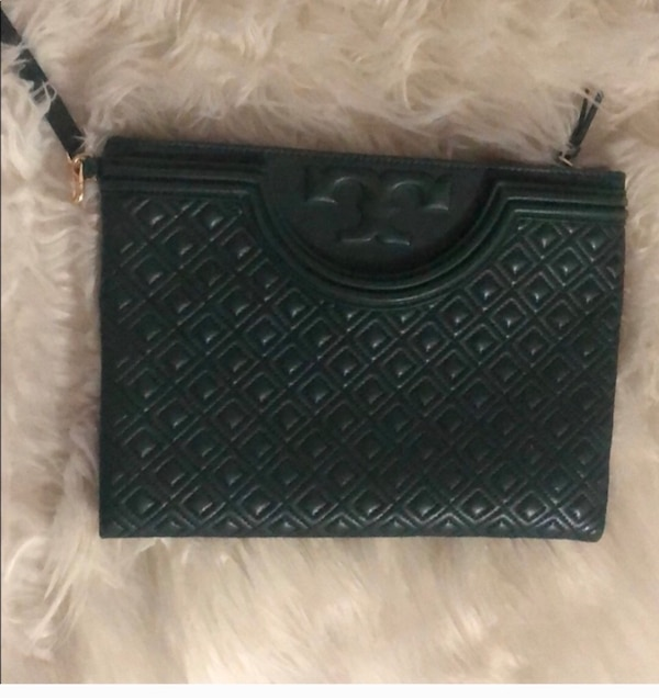 Tory Burch hunter green clutch