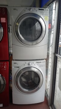 gray Whirlpool clothes dryer and washer set