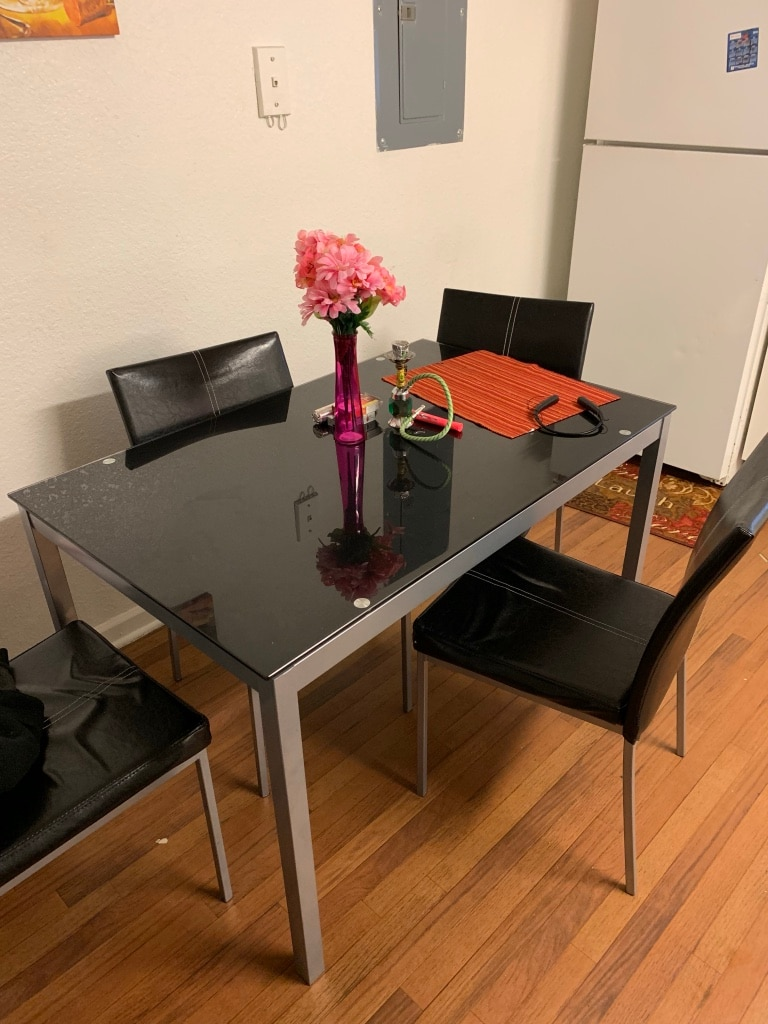 used rectangular black wooden table with four chairs dining set for rh us letgo com